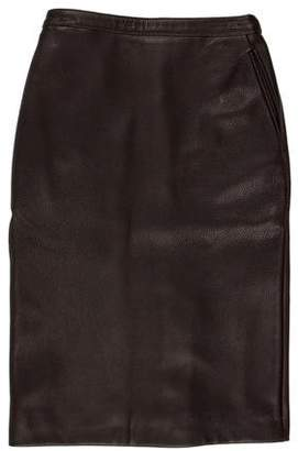 Hermes Leather Knee-Length Skirt