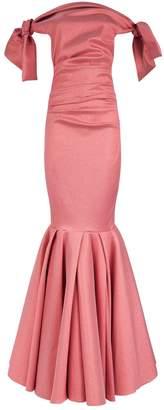 Talbot Runhof Metallic Off-The-Shoulder Fishtail Gown