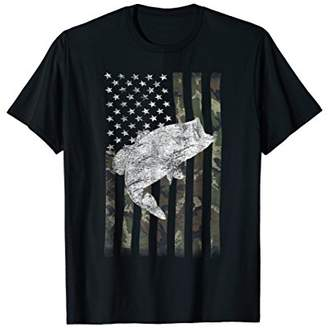 Camouflage Flag Big Mouth Bass Fishing TShirt