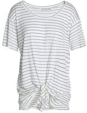 Kain Label Tie-Front Striped Modal And Silk-Blend Jersey T-Shirt