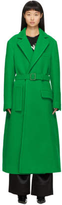 Off-White Green Curly Two-Layer Belt Coat