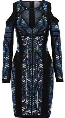 Herve Leger Kara Cold-shoulder Cutout Jacquard-knit Mini Dress