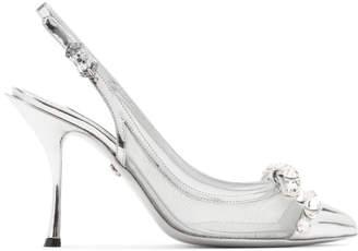 Dolce & Gabbana Silver Mesh Bejewelled Bow Slingback Heels