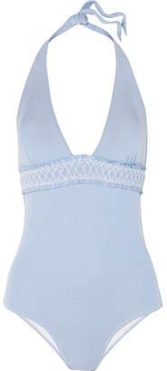 Heidi Klein Cassis Smocked Stretch-piqué Halterneck Swimsuit - Light blue