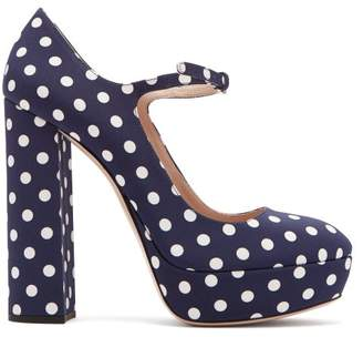 Miu Miu Polka Dot Platform Mary Jane Pumps - Womens - Navy White