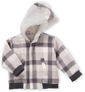 Manuell & Frank Newborn/Infant Boys) Grey & White Sherpa-Lined Plaid Jacket
