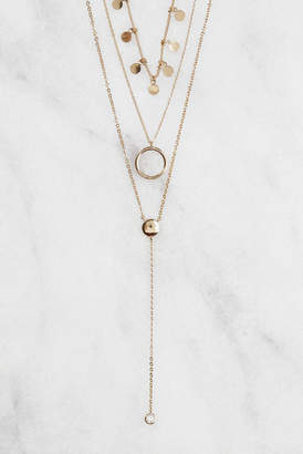 South Moon Under Multi Layer Chain And CZ Circle Necklace