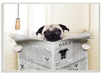 Wrought Studio 'Pug Reading Newspaper in Bathroom' Graphic Art Print