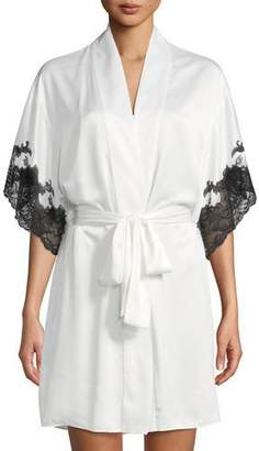 Natori Plume Lace-Trim Satin Short Robe 26385e549