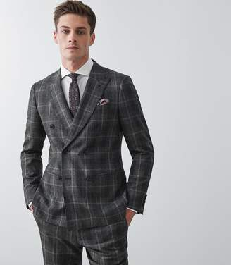 Reiss Our last order date for Christmas has now passed BONDI DOUBLE BREASTED BLAZER Charcoal