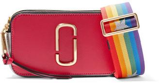 Marc Jacobs - Snapshot Color-block Textured-leather Shoulder Bag - Crimson $295 thestylecure.com