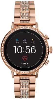 Fossil Q Women's Venture Hr Rose Gold-Tone Stainless Steel Bracelet Touchscreen Smart Watch 40mm