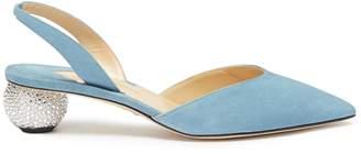 Paul Andrew 'Rhea Ankara' Swarovski crystal pavé heel suede slingback pumps