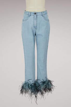 Womens Ostrich-Feather-Embellished Relaxed Jeans Prada ulKeGHj6G