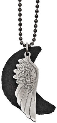 FINE JEWELRY Mens Stainless Steel Wing W/ Leather Moon Pendant