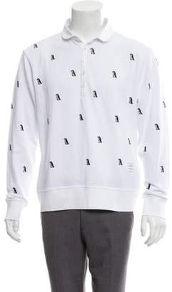 Thom Browne Penguin Print Long Sleeve Polo Shirt w/ Tags white Penguin Print Long Sleeve Polo Shirt w/ Tags