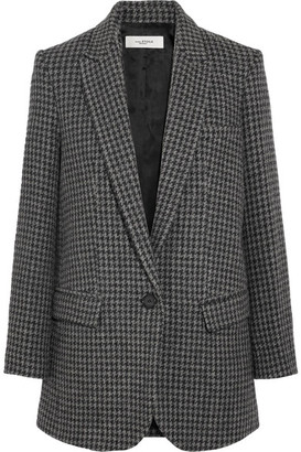 Etoile Isabel Marant Ice Houndstooth Wool-blend Blazer - Gray