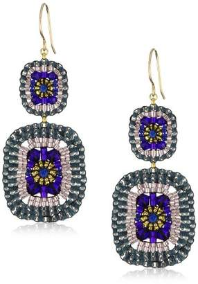 Miguel Ases Quartz and Swarovski Square Drop Earrings