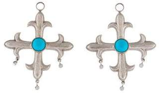 Jude Frances 18K Turquoise & Diamond Cross Earring Charms