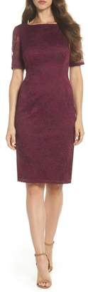 Adrianna Papell Bateau Neck Lace Sheath Dress