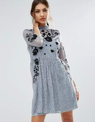 ASOS Embroidered Lace Mini Skater Dress $76 thestylecure.com