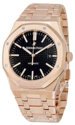 Audemars Piguet Royal Oak 15202 18K Rose Gold Black Dial 41mm Mens Watch