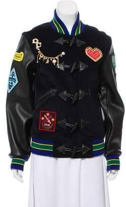 Opening Ceremony Leather-Trimmed Bomber Jacket