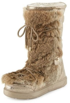 Moncler Laetitia Fur Lace-Up Boot, Beige $835 thestylecure.com