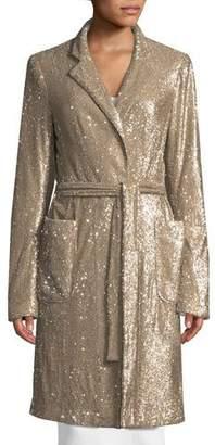 Nanette Lepore Close Up Long-Sleeve Sequin Coat