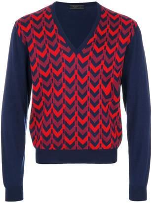 Prada patterned V-neck jumper