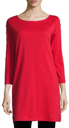 Joan Vass 3/4-Sleeve Studded Tunic, Petite