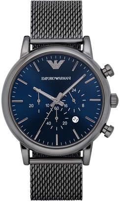 Emporio Armani Men's Chronograph Gunmetal Stainless Steel Mesh Bracelet Watch 46mm AR1979