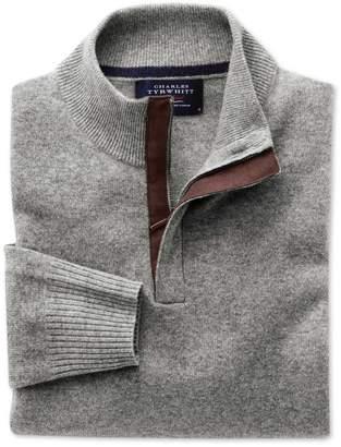 Charles Tyrwhitt Silver Grey Cashmere Zip Neck Sweater Size Medium