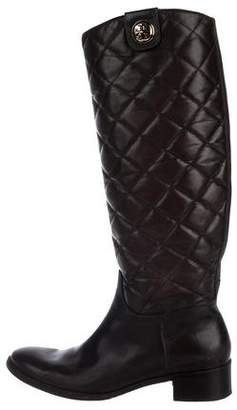 Tory Burch Leather Quilted Knee-High Boots
