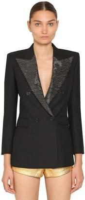 Saint Laurent Embellished Wool Gabardine Rever Blazer