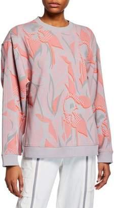 adidas by Stella McCartney Floral Print Sweatshirt w/ Zippers