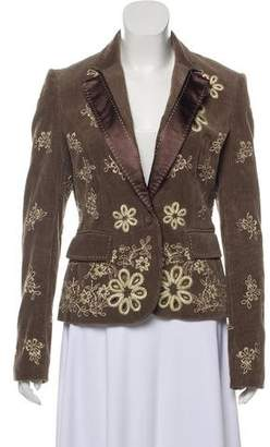 Just Cavalli Broderie Anglaise-Accented Notch-Lapel Blazer