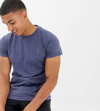 Farah Twisted Yarn Marl T-Shirt in Navy