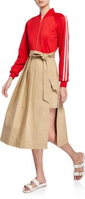 Besfxxk Track-Top Trench-Skirt Dress