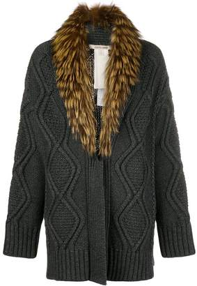 Roberto Cavalli fur-collar cable knit cardigan
