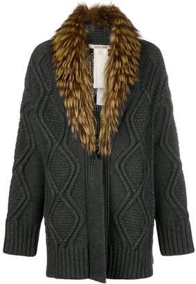 Roberto Cavalli fur-collar cable knit cardigan