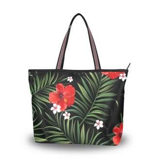 10f1b4a712 La Random Palm Leaves Hibiscus Flower Tote Top Handle Shoulder Bags Large  Handbags for Women Ladies