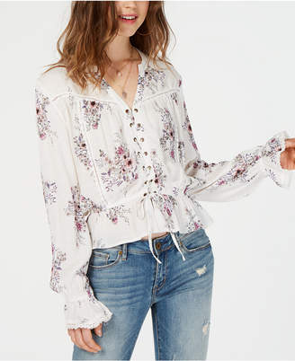 American Rag Juniors' Printed Lace-Up Blouse