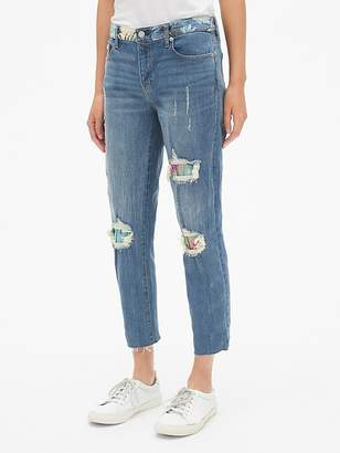 Gap Mid Rise Best Girlfriend Jeans with Floral Print Detail