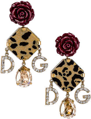 993c52ab47a1 Dolce & Gabbana Leo & Roses Crystal Logo Earrings in Gold | FWRD