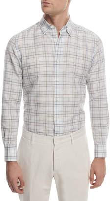 Ermenegildo Zegna Checked Linen Sport Shirt