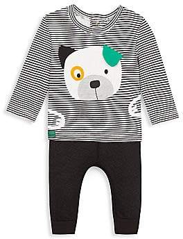 Catimini Baby Boy's Two-Piece Stripe Dog T-Shirt & Waffle Knit Pants Set