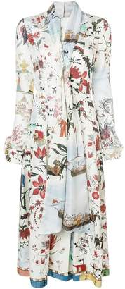 Oscar de la Renta botanical print silk dress
