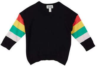 Autumn Cashmere Rainbow Striped High-Low Top, Size 8-14