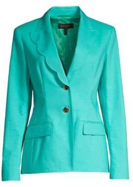 Escada Women's Barmai Scalloped-Trim Blazer - Open Blue - Size 34 (4)